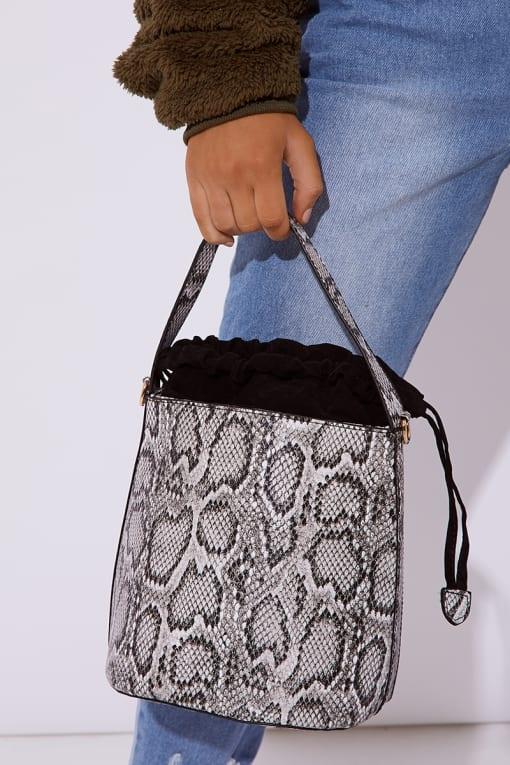 GREY SNAKE PRINT BUCKET BAG