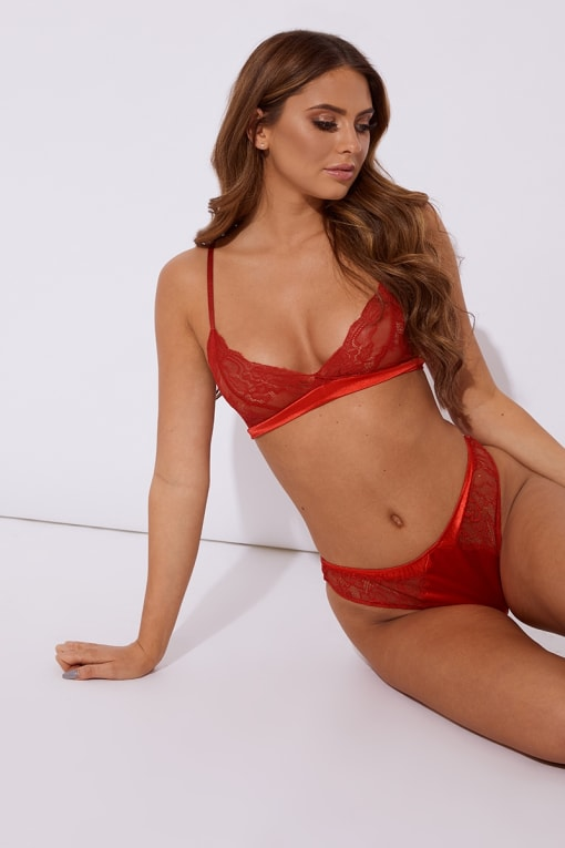 ILIZA RED SATIN AND LACE THONG