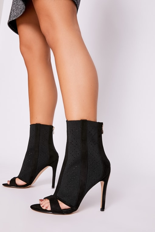 EVORIA BLACK KNITTED POINTELLE CUT OUT DETAIL PEEP TOE HEEL