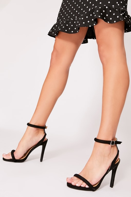 CERRIE BLACK CUT OUT BACK BARELY THERE HEEL