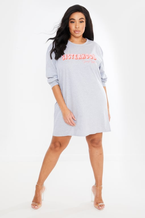 CURVE CHESSIE KING GREY 'SISTERHOOD' LONG SLEEVE T SHIRT DRESS