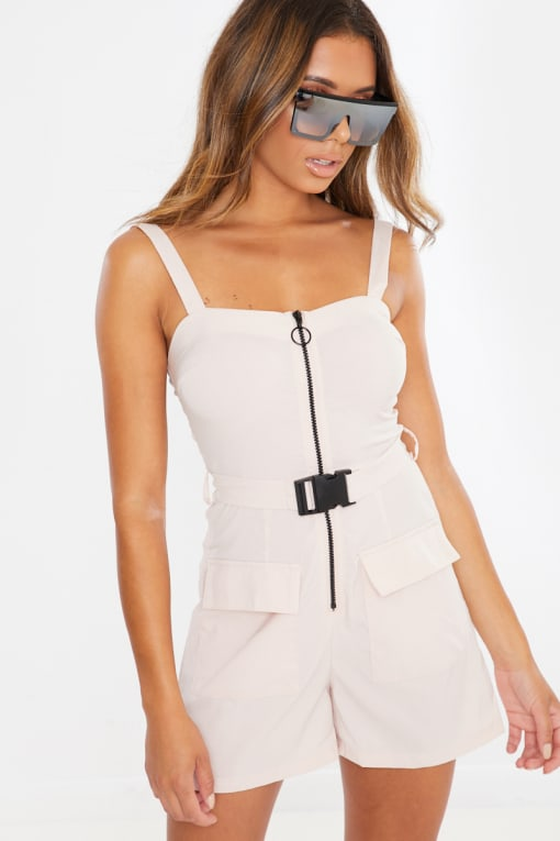 POPPEYA BEIGE UTILITY BUCKLE BELT PLAYSUIT
