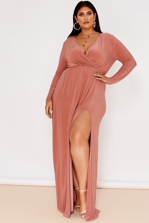 CURVE LATECIA BLUSH SLINKY WRAP FRONT MAXI DRESS