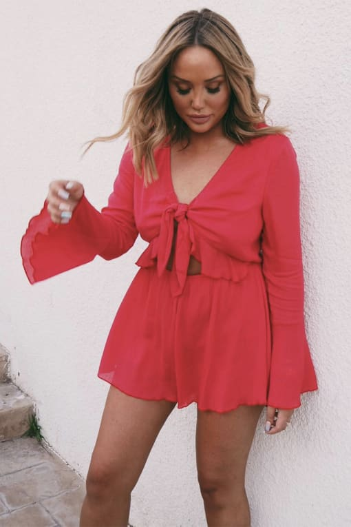 CHARLOTTE CROSBY RED FLARE SLEEVE TIE FRONT PLAYSUIT