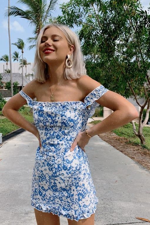 LAURA JADE BLUE FLORAL BARDOT FRILL MINI DRESS