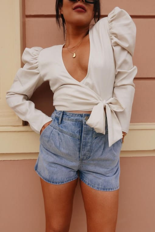 LORNA LUXE 'LUXETTE SHORTS' BLEACHED DENIM HIGH WAISTED SHORTS