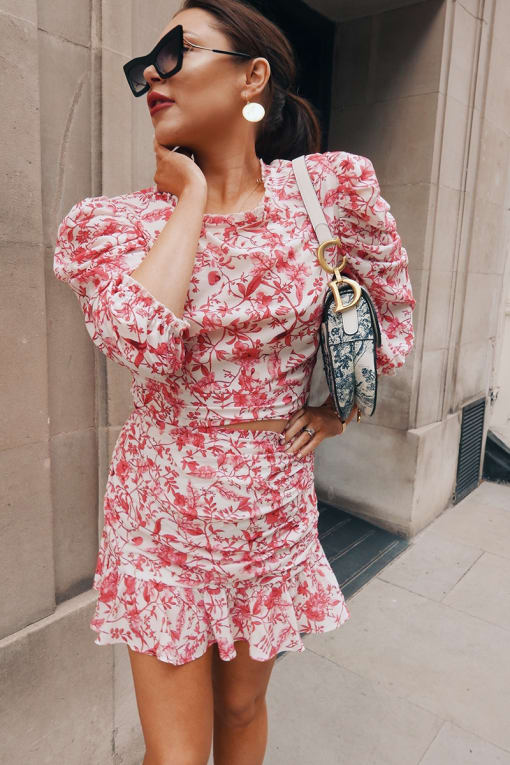 LORNA LUXE 'PRACTICALLY PERFECT' PORCELAIN PINK FRILL CO-ORD MINI SKIRT