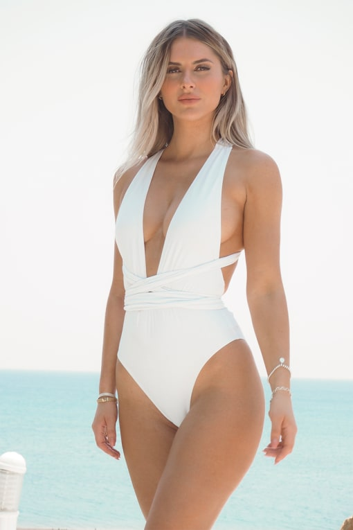 FASHION INFLUX WHITE MULTI WEAR PLUNGE FRONT SWIMSUIT