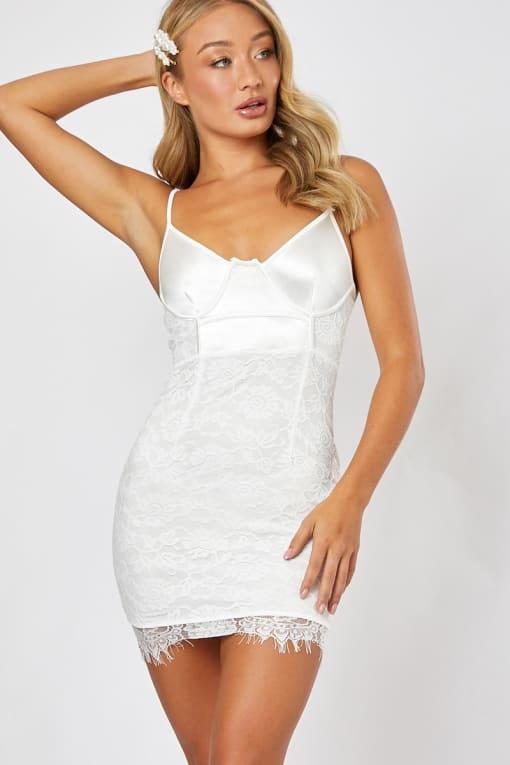 GREGORIA WHITE UNDERWIRED LACE AND SATIN MINI DRESS