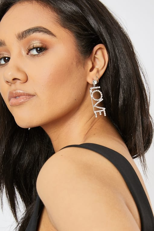 LOVE DROP DIAMANTE EARRINGS