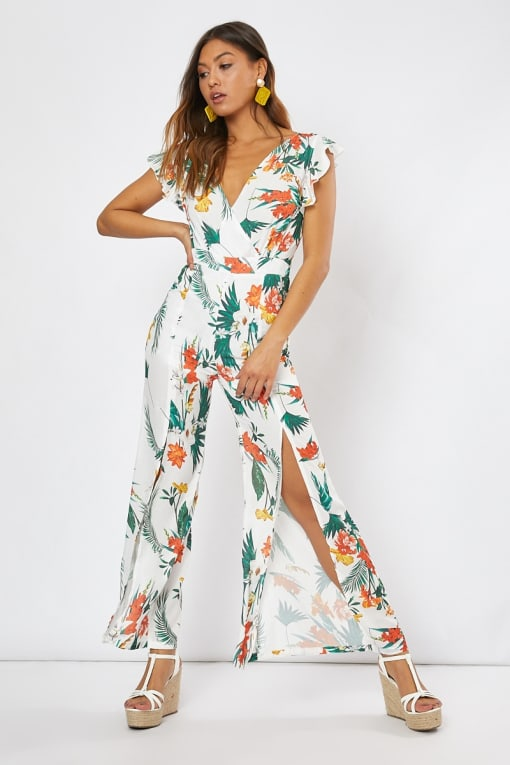 BRYNLEE WHITE TROPICAL PRINT TIE BACK FRILL JUMPSUIT
