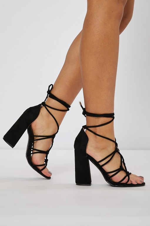NATIVIA BLACK SUEDE LACE UP BLOCK HEELS