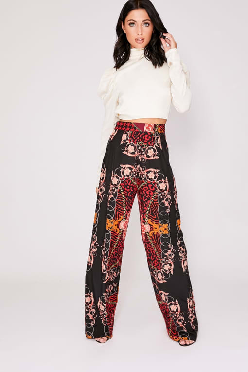 red scarf print wide leg trousers