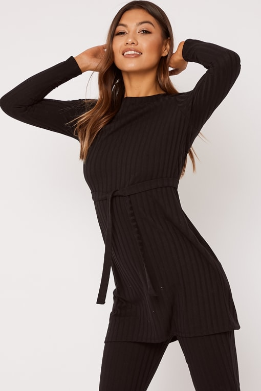 black ribbed longline co ord top