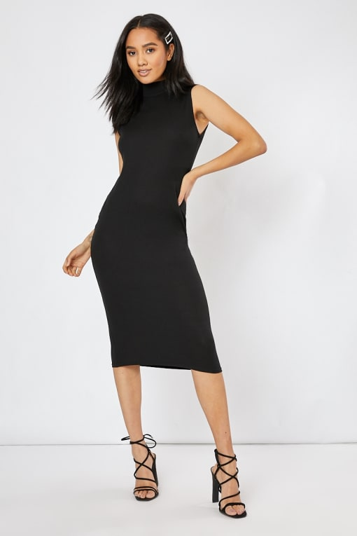 black high neck ribbed midi dress