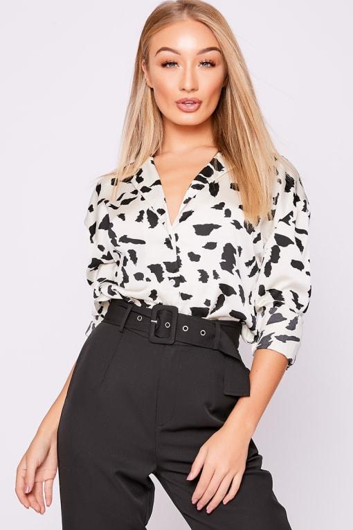 white dalmation print satin shirt