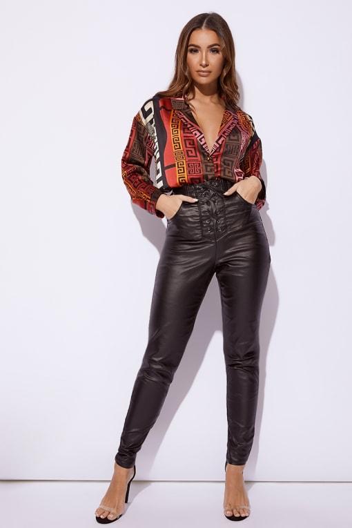 black coated denim lace up skinny jeans