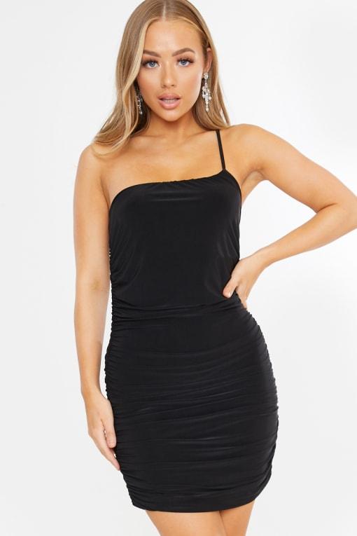 black slinky ruched one shoulder mini dress