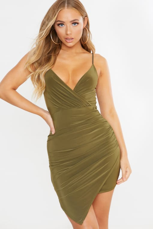 khaki slinky wrap over ruched mini dress