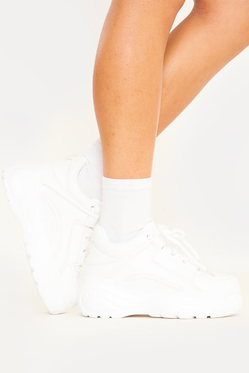 white chunky platform trainers