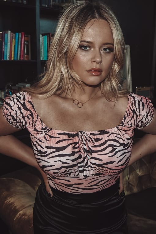 EMILY ATACK PINK TIGER PRINT GYPSY STYLE BODYSUIT