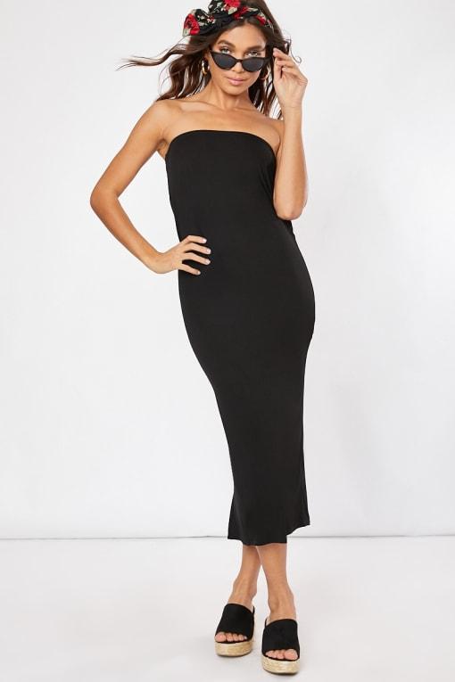 black bandeau midaxi dress