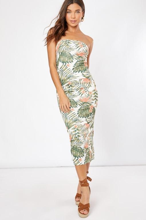 white tropical print bandeau midaxi dress