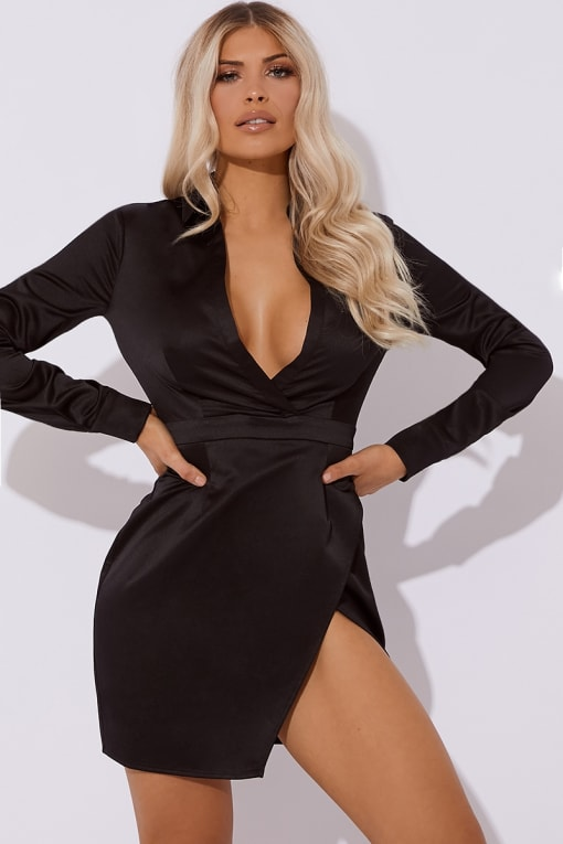 black satin split front mini dress