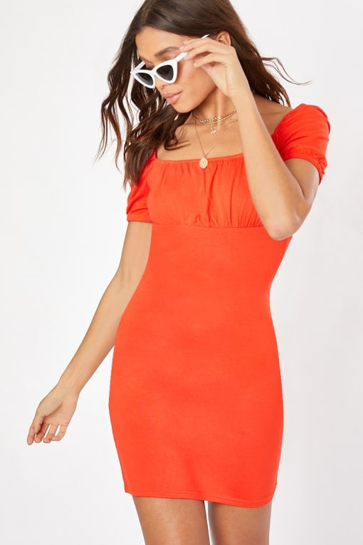 orange milkmaid dress