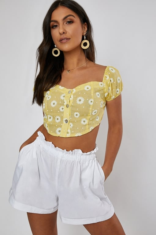 yellow floral button front crop top