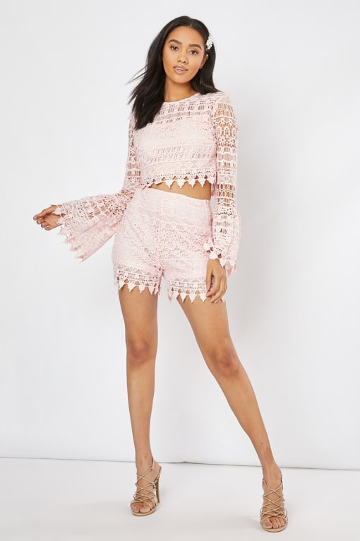 blush crochet lace high waisted co-ord shorts