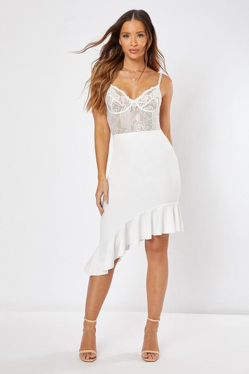 white asymmetric frill hem skirt