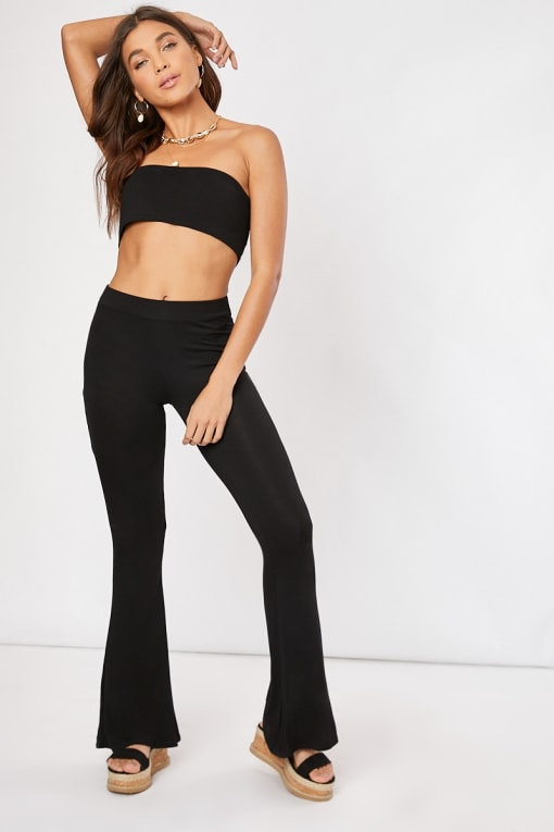 black basic flared co-ord trousers