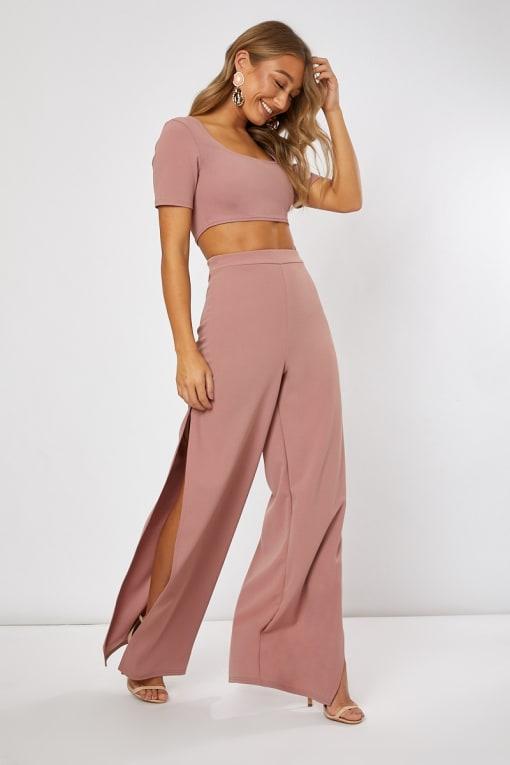 blush side split wide leg co-ord trousers
