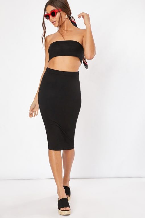 black co-ord midi skirt