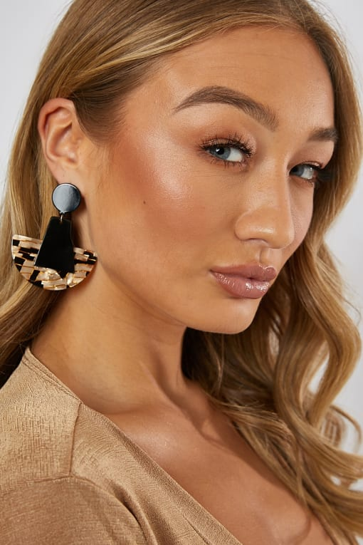 BLACK AND GOLD DROP EARRINGS