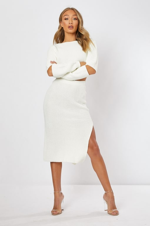 cream knitted co-ord top and skirt