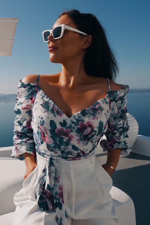 LORNA LUXE WHITE 'ALMOST FAMOUS' ANTIQUE ROSE BLOUSE