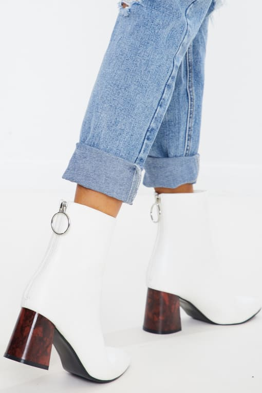 white pu brown heel ankle boots