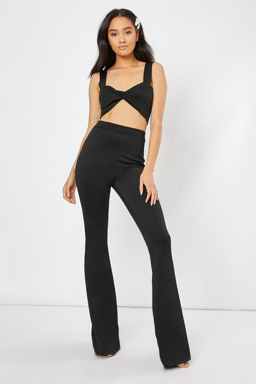 black flared leg co-ord trousers
