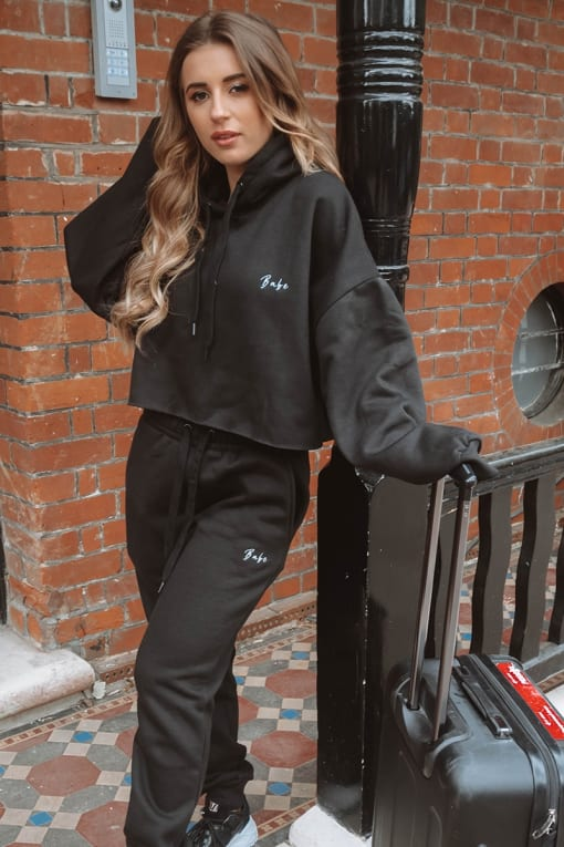 DANI DYER BABE BLACK EMBROIDERED LOUNGE JOGGERS