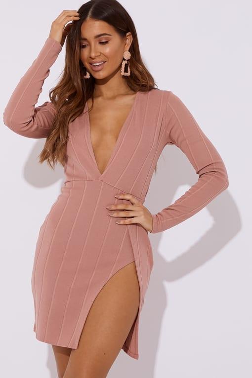 blush bandage plunge front mini dress