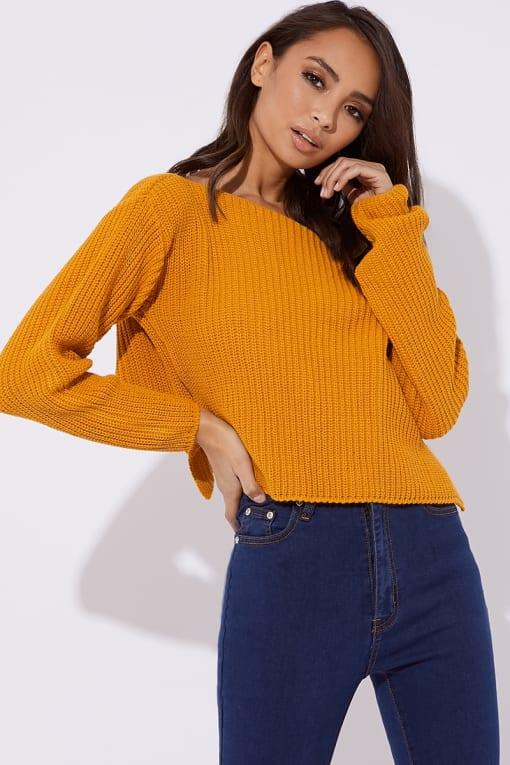 mustard slash neck cropped knitted jumper