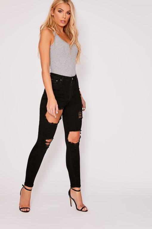 black denim high waisted multi rip skinny jeans