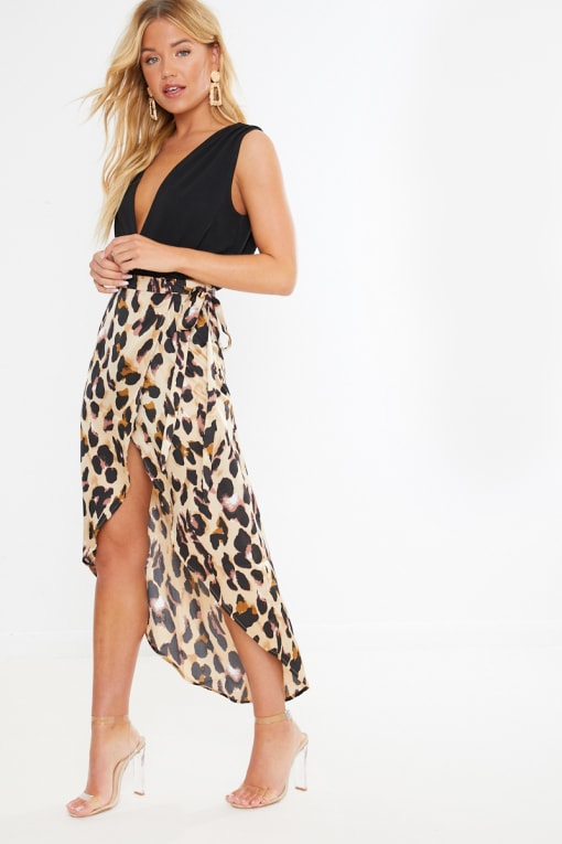 leopard print satin wrap front midi skirt
