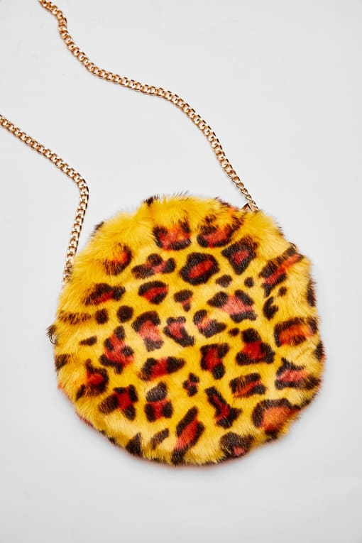 YELLOW LEOPARD PRINT FAUX FUR BAG