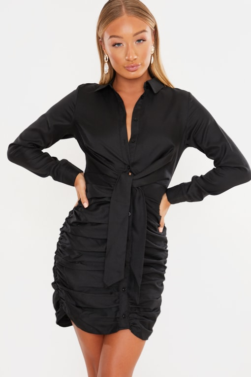 LAILA LOVES BLACK TIE FRONT BUTTON DOWN RUCHED MIDI DRESS