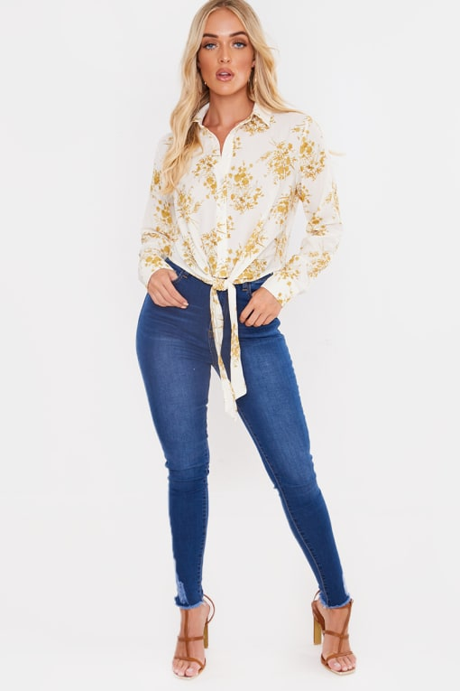 LAILA LOVES CREAM FLORAL TIE FRONT BUTTON UP SHIRT