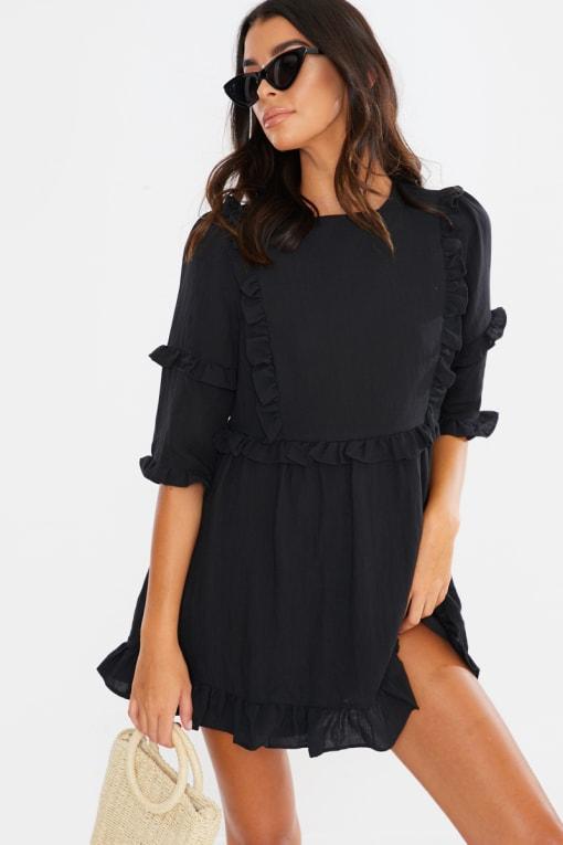 LORNA LUXE BLACK 'GIRL'S GIRL' RUFFLE MINI DRESS