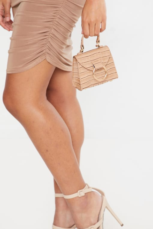 CAMEL CROC WITH GOLD RING MINI BAG